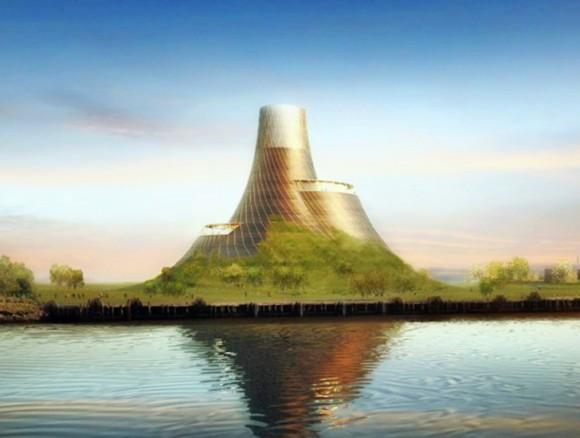 Architekt Thomas Heatherwick navrhuje na břehu řeky Tess místo komínů a hal sopečný kužel. foto: Heatherwick Studio