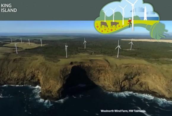 """King Island se v budoucnu možná promění na největší """"plovoucí"""" větrnou elektrárnu jižní polokoule. Zdroj: TasWind"""