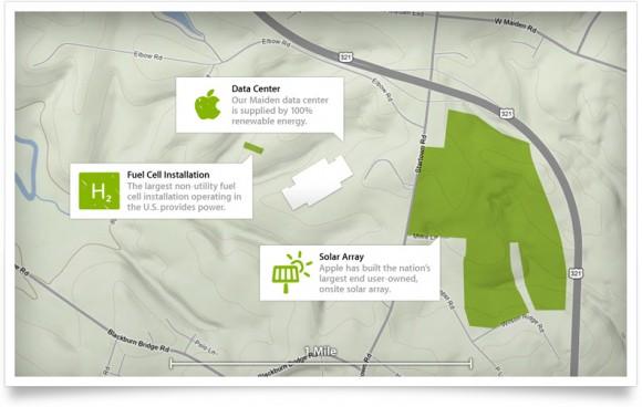 Datové centrum Apple v Maidenu pohání elektřina ze solární elektrárny, foto: Apple