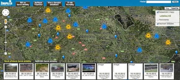 A takhle zatím vypadá mapa černých skládek České republiky, stav k 1.11.2012