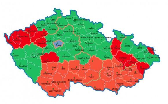 Přehledná mapa ČR týkající se možností opětovného připojování solárních elektráren na území České republiky, zdroj: CZEPHO