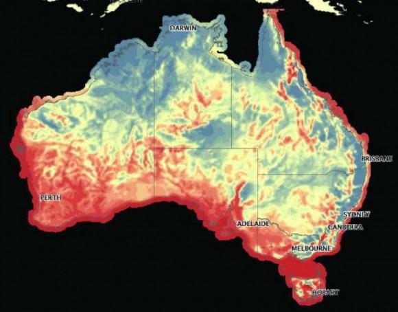Podle slov Martina Fergusona má Austrálie kapacity pro alternativní zdroje, ale prostor na trhu s energiemi je zapotřebí uvolnit. Tato mapa ukazuje (červeně) oblasti vhodné pro stavbu větrných elektráren. foto: australské ministerstvo životního prostředí