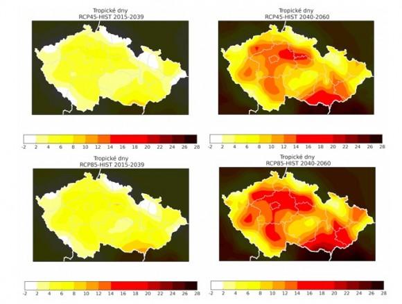 Nárůst počtu tropických nocí a letních a tropických dnů se objevuje pro obě studovaná období a oba scénáře (vyšší opět pro období 2040-2060 a scénář RCP8.5). Nejvyšší nárůst se pozoruje zejména na Jižní Moravě přibližně mezi Znojmem a Hodonínem a v Praze a okolí. Další nárůst počtu tropických a letních dnů se objevuje v oblasti České tabule, v oblasti kolem Vltavy táhnoucí se z Prahy na jih Čech anebo severní části Moravské brány