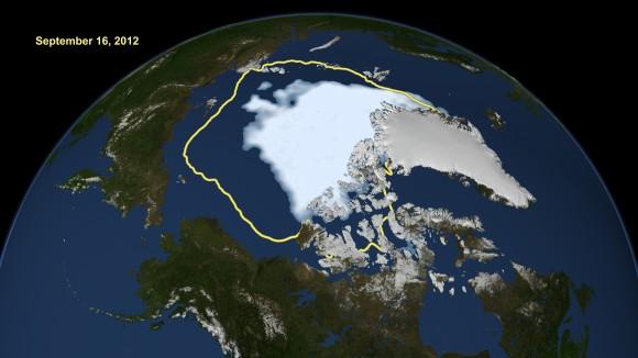 Průjezdnost severních tras každoročně závisela na síle ledu. Poslední léta se ale obě hlavní cesty stávají bez problémů splavné. foto: NASA