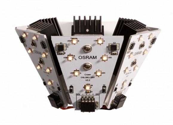 LED modul se skládá ze šesti desek, z nichž je každá osazena sedmi diodami. Tyto diody produkují teplé bílé světlo, podobně jako klasické žárovky. foto: Siemens