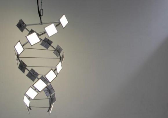 Lustr budoucnosti podle společnosti Philips, vyrobený ve tvaru šroubovice DNA z nových OLED světelných panelů Lumiblade GL350. foto: Philips