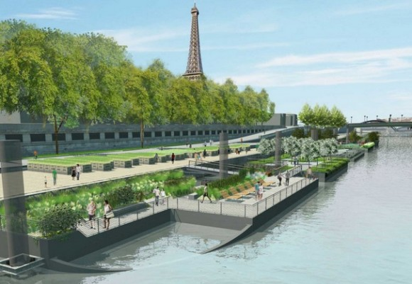 Nová pařížská radnice se rozhodla vzít nábřeží automobilistům a vrátit jej všem lidem, foto: JC Choblet - APUR / Mairie de Paris