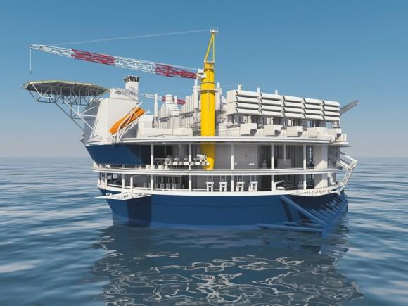Vizualizace plovoucí elektrárny – díky kulovitému tvaru trupu může být plavidlo dlouhodobě ukotveno na jednom místě a nemusí se natáčet po směru vln. foto: Siemens