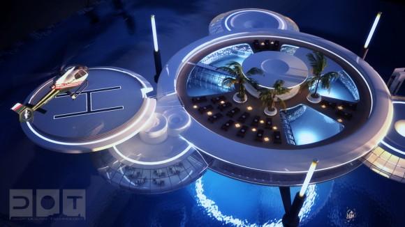 Na hladině zůstane jen malý přístav a helipad pro hosty, vše ostatní zůstane skryto v hlubinách. Zdroj: deep-ocean-technology.com