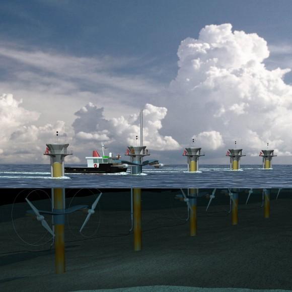 Celkový potenciál využitelné slapové energie je odhadován na 800 terawatthodin, což představuje přibližně tři až čtyři procenta zcelosvětové energetické spotřeby. Je tedy pravděpodobné, že slapové elektrárny budeme u pobřeží vídat stále častěji. foto: Siemens