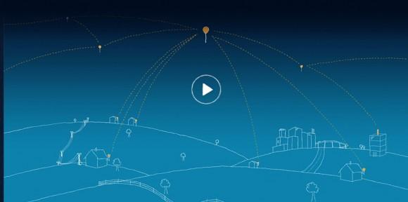 """Konceputální představa projektu Project Loon: balóny, které internetem """"zásobují"""" i uživatele v jinak nedostupných oblastech."""