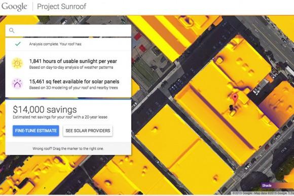 Project Sunroof společnosti Google je prozatím dostupný pouze úzkému okruhu regionálně vybraných uživatelů. foto: Google