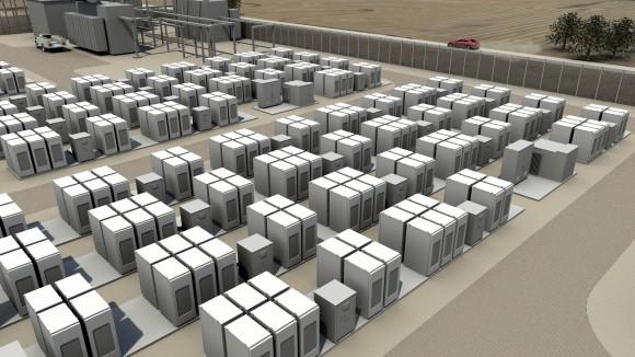 Tesla nabízí také průmyslové baterie s kapacitou o několik řádů vyšší než nabízejí ty domácí. foto: Tesla Motors
