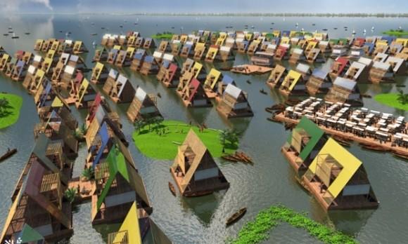 Plovoucí škola v lagoském zálivu Makoko, nebo rovnou celé plovoucí město? Zdroj: Kunlé Ayedemi