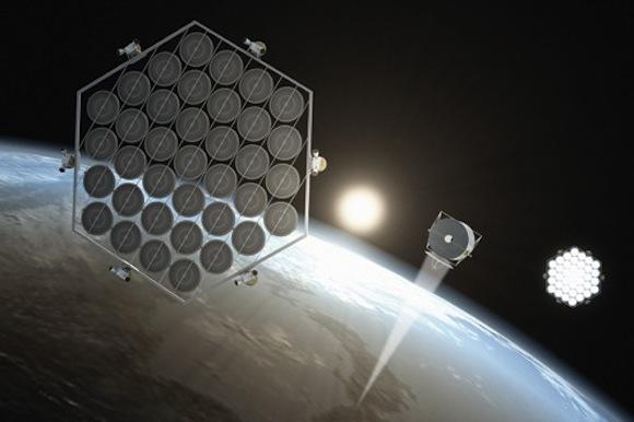 Solární elektrárna na oběžné dráze země. ilustrace: John MacNeill