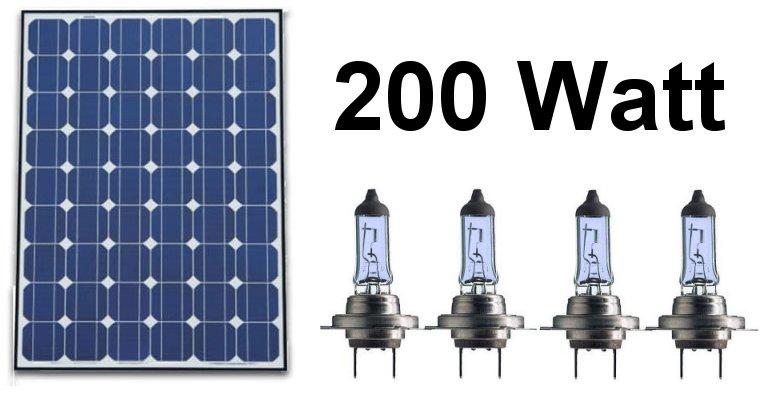 Čtyři běžné halogenové žárovky v autě mají celkem výkon cca 200 W