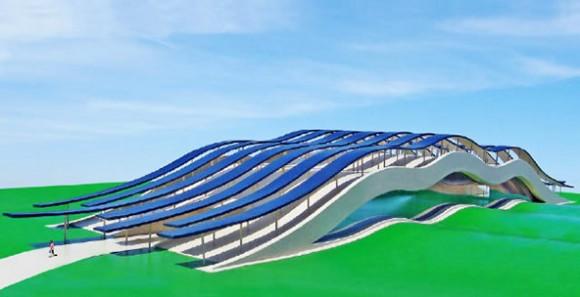 Solární vinařství podle architekta Michaela Jantzena, obrázek: Michael Jantzen