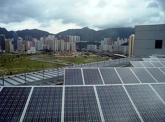Střešní solární elektrána v Hong Kongu, ilustrační foto, foto: Wikipedia