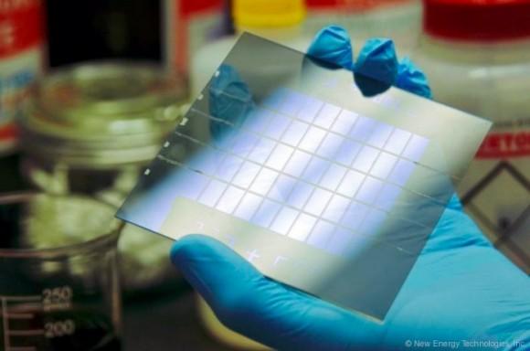 Šablona pro průhledné solární články neboli fotovoltaická okna společnosti New Energy Technologies, Inc. foto: New Energy Technologies, Inc.
