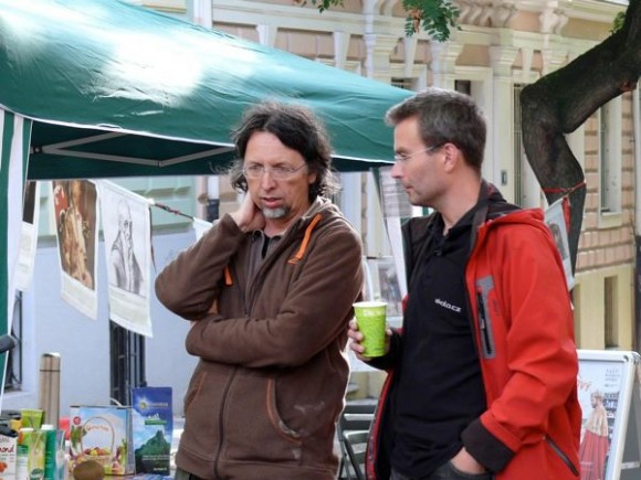 Stanislav Miler (vlevo) a Jakub Ditrich, majitel společnosti ekolo.cz, která v ČR propaguje elektrokola a šetrnou dopravu, foto: archiv Stanislav Miler