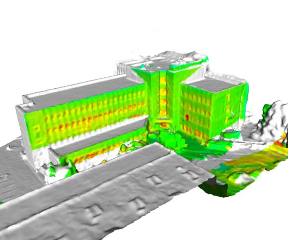 Na 3D modelu sestaveném ze snímků zbalonů a dronů lze provádět simulace znázorňující vliv různých druhů úprav na tepelné ztráty budov.