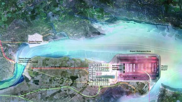 Součástí Thames Hub má být letiště, přístav, přílivová elektrárna i vysokochrychlostní tratě, foto: Foster + Partners