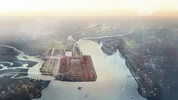 Thames Hub - obrovský infrastrukturní projekt spojující rychlovlaky, letiště a přístav, spojující Británii s Evropou, foto: Foster + Partners