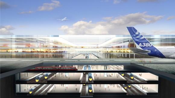 Nové letiště v ústí řeky Temže má být vybudováno na umělém ostrově, ve kterém nad sebou povede několik linek vysokorychlostní železnice spojující ho se zbytkem Británie i Evropou, foto: Foster + Partners