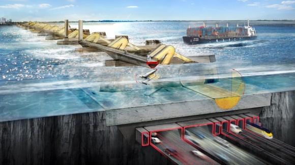Přílivová elektrárna má sloužit jedna jako oceánská bariéra, především ale jako zdroj levné a čisté energie, foto: Foster + Partners