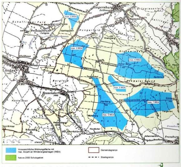 Zelená barva - chráněná oblast Natura 2000, modrá - předpokládané lokality s udáním maximálního počtu objektů větrných elektráren. Zdroj: Windpark Nord Web