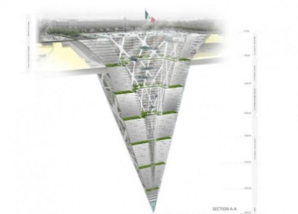 Zemědrap neboli Earthscraper - návrh jak by mohla vypadat budoucnost centrálního náměstí Mexico City, foto: BNKR Arquitectura