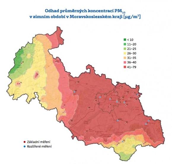 Mapa znečištění ovzduší Moravskoslezského kraje