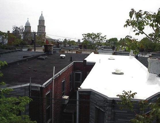 architektura - bílá střecha domů