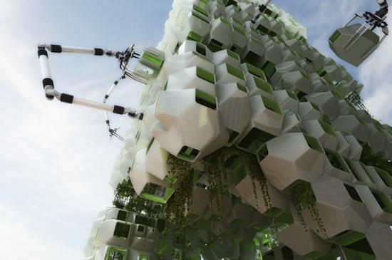 Architektura - Boston - Budova s robotickými rameny na biopaliva