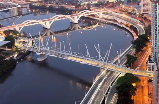Kurilpa bridge - solární most přes řeknu Brisbane