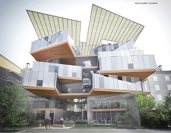 Mario Cucinella Architects - nová obytná šetrná budova střešní solární elektrárnou
