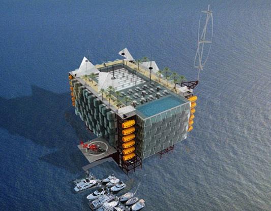 ropná plošina přeměněná na mořský hotel