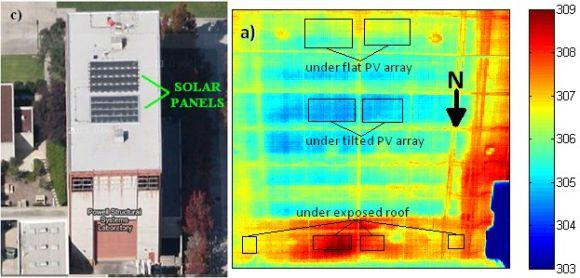 pohled termální kamery na solární panely