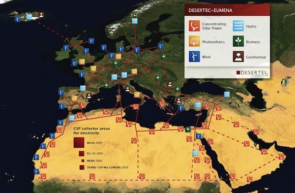 DESERTEC - mapa projektu