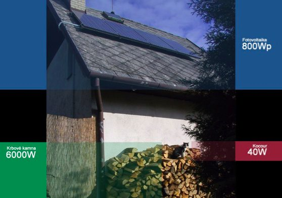 dům chata fotovoltaika kamna kočka
