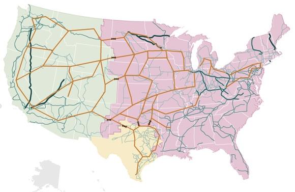 Energetika - Spojené státy - rozvodná síť