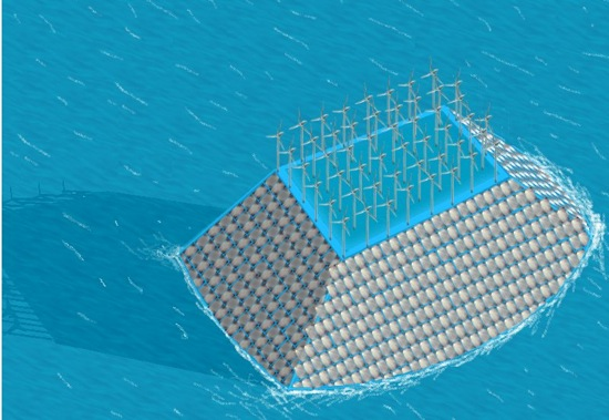 The Plastic Plan - větrné elektrárny na ostrově z umělohmotných krychlí
