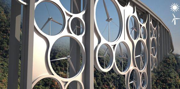 Itálie viadukt větrné turbíny