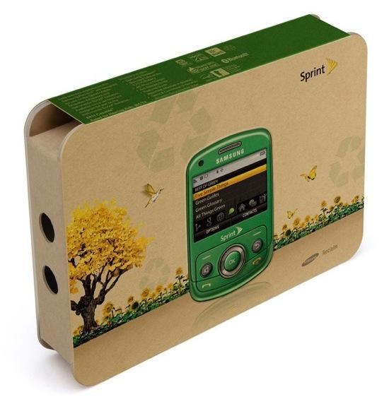 mobilní telefon Samsung Reclaim - krabice z recyklovaných materiálů