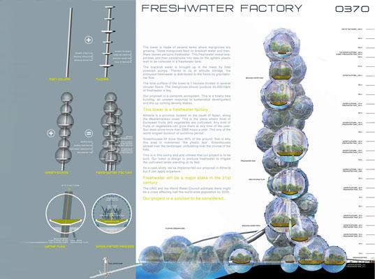 mrakodrapy - bublinkovitý mrakodrap - odsolovací stanice