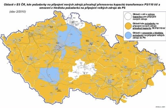 rozvodné sítě - mapa České republiky - připojení OZE, volná kapacita