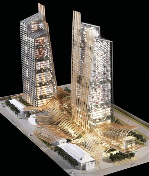 zelený komplex budov v Singapuru