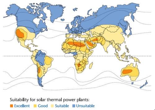 Koncentrační solární elektrárny - mapa slunečního záření