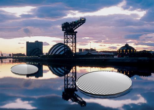 plovoucí solární panely v Glasgow