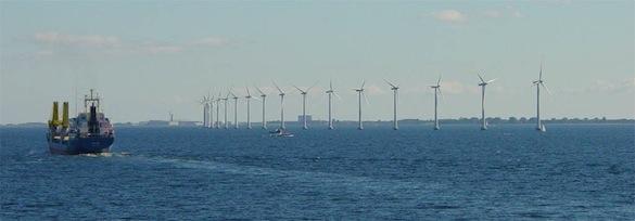větrná energie - pobřežní větrné elektrárny Dánsko